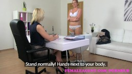 FemaleAgent Natural busty curvy blonde enjoys first lesbian casting