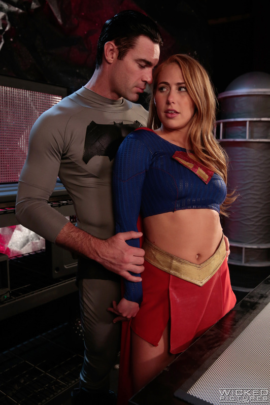 Supergirl cutie and her very creamy shaved pussy